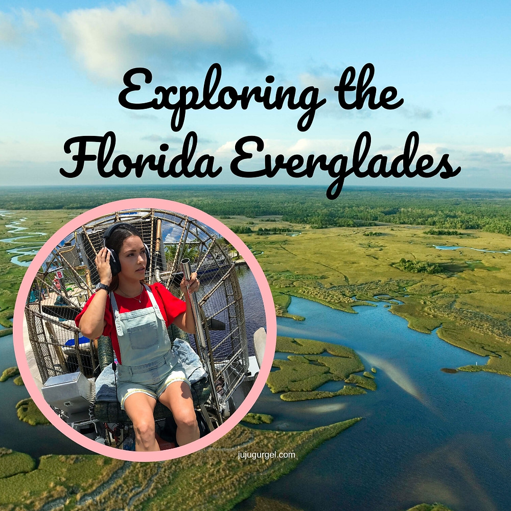 An aerial vial of the Florida Everglade and a girl sitting on a airboat captain's chair