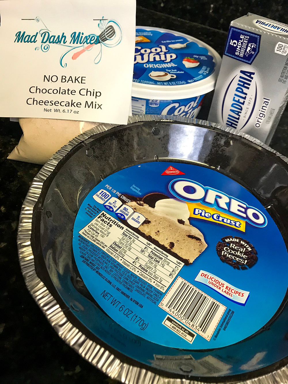 ingredients for no bake chocolate chip cheesecake