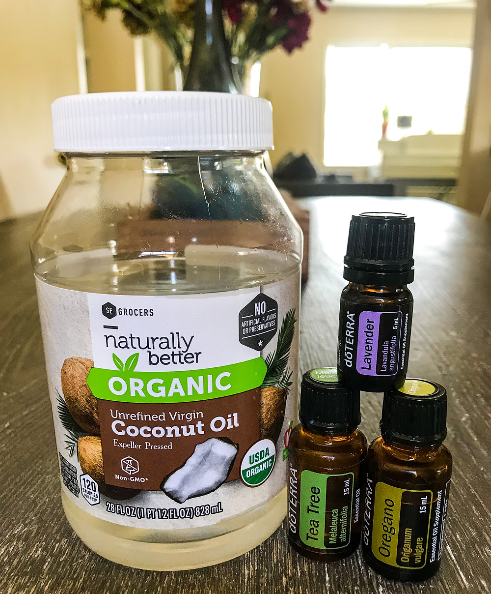 DIY yeast infection relief using coconut oil, oregano, tea tree and lavender.