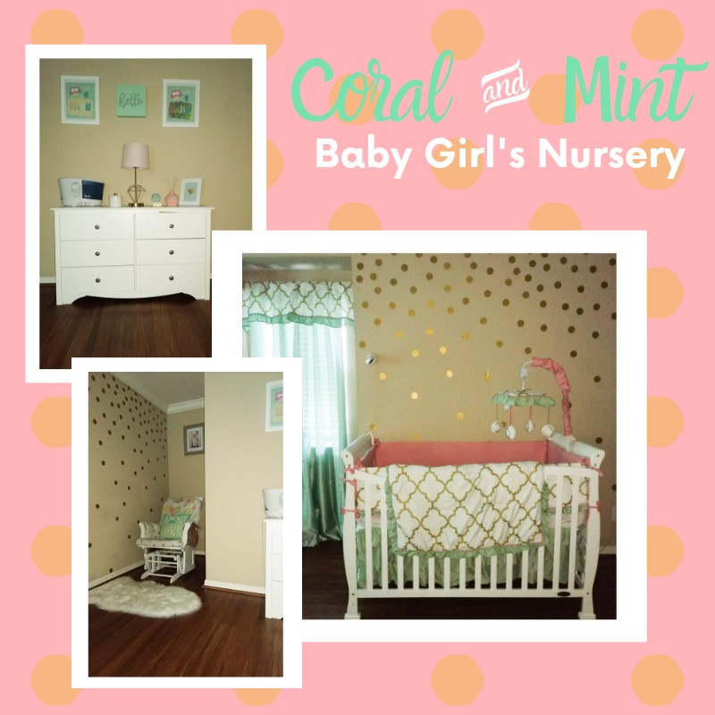 Coral and mint baby girls nursery