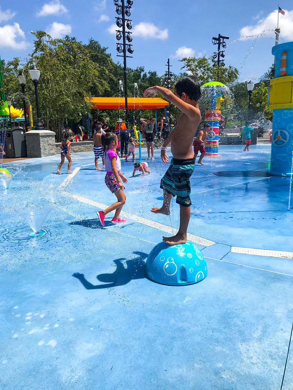 Wearing swim trunks for Sesame Street Land at SeaWorld Orlando