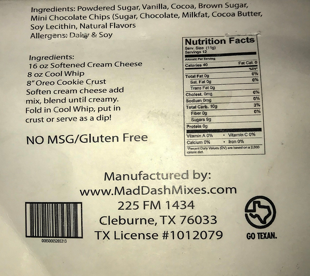 No bake chocolate chip cheesecake mix Information and nutritional fact