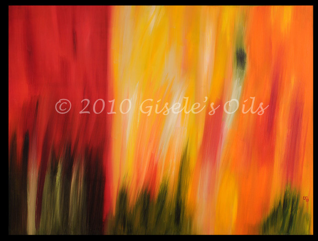 """TITLE """"FIRE IN THE GARDEN"""" SIZE 48 inches wide by 36 inches tall DATE 2010 MEDIUM Winsor & Newton Oil paints CANVAS Fredrix 100% Cotton Artist Canvas"""
