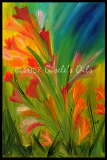 "TITLE ""ORANGE PARADE"" SIZE 24 inches wide by 36 inches tall DATE 2007 MEDIUM Winsor & Newton Oil paints CANVAS Fredrix 100% Cotton Artist Canvas"