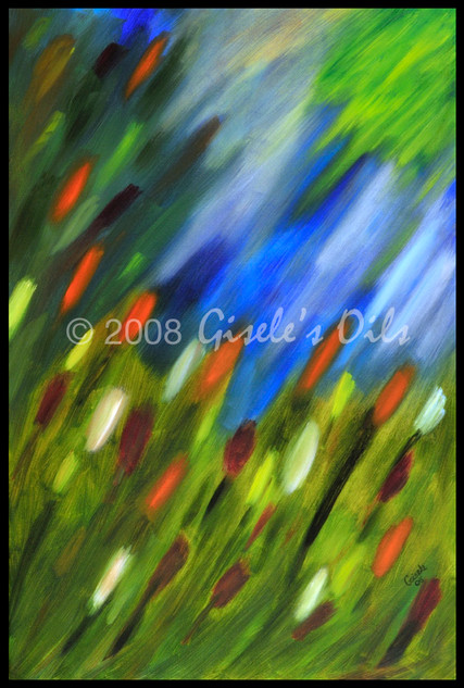 """TITLE """"APRIL SHOWERS"""" SIZE 24 inches wide by 36 inches tall DATE 2008 MEDIUM Winsor & Newton Oil paints CANVAS Fredrix 100% Cotton Artist Canvas"""