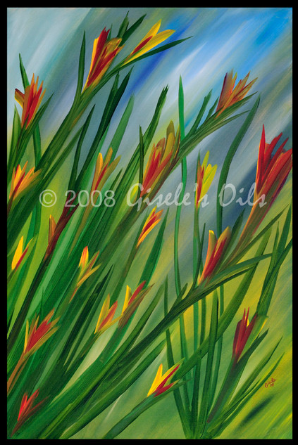 """TITLE """"AFTER THE RAIN"""" SIZE 24 inches wide by 36 inches tall DATE 2008 MEDIUM Winsor & Newton Oil paints CANVAS Fredrix 100% Cotton Artist Canvas"""