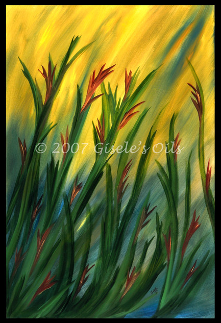 """TITLE """"SUNRISE"""" SIZE 24 inches wide by 36 inches tall DATE 2007 MEDIUM Winsor & Newton Oil paints CANVAS Fredrix 100% Cotton Artist Canvas"""