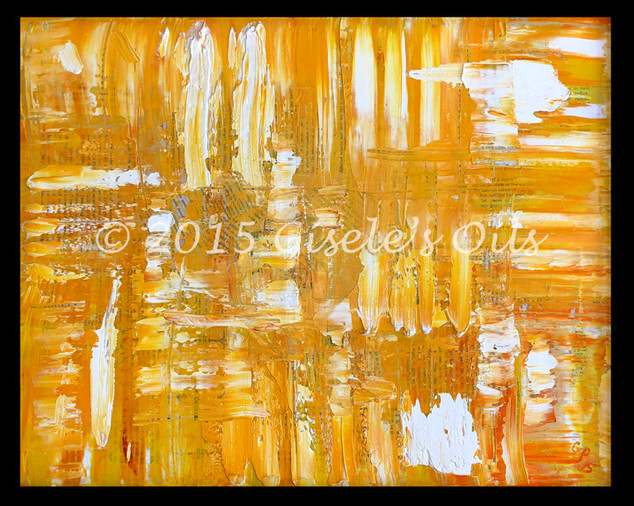 """TITLE """"GOLDEN YELLOW FIRE"""" SIZE 20 inches wide by 16 inches tall DATE 2015 MEDIUM Winsor & Newton Oil paints CANVAS Fredrix 100% Cotton Artist Canvas"""