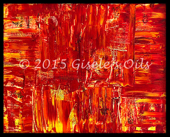 """TITLE """"SCARLET LAKE"""" SIZE 20 inches wide by 16 inches tall DATE 2015 MEDIUM Winsor & Newton Oil paints CANVAS Fredrix 100% Cotton Artist Canvas"""