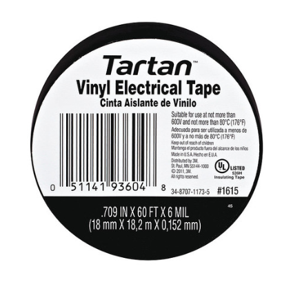 "Tartan Vinyl Electrical Tape .7"" x 60' x 6mil"
