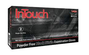 InTouch Disposable Gloves - 1 Case/10 Boxes - 100 per box - Powder Free, Black