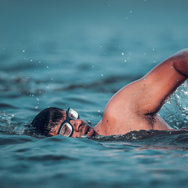 Focus and self belief are your friends when in the ocean.Goa Triathlon.