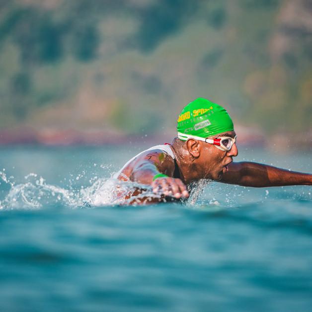 Open water sea swim section of the Goa Triathlon.