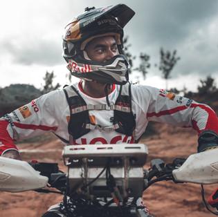 CS Santosh on his Hero Xpulse 200 Rally Kit.