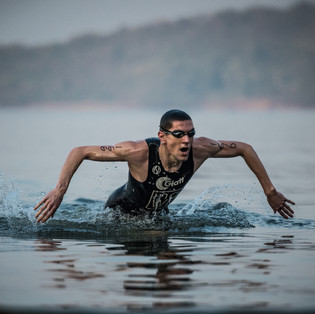 Emerging out after finsihing the swim segment of the Goa Triathlon.