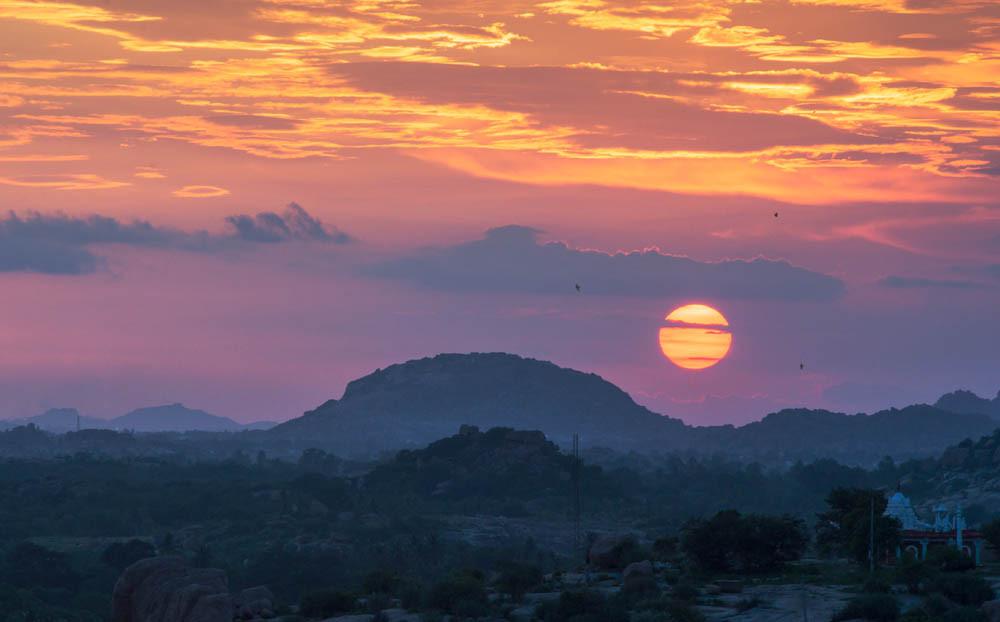 Sunset point at Hippie Island Hampi