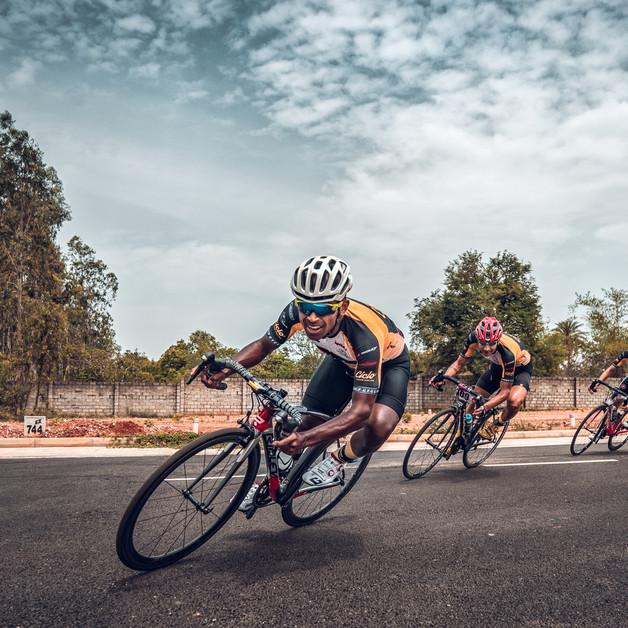 Naveen John leading Team Ciclo in racing event at Bangalore, Karnataka.