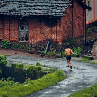 A runner at Durshet Forest Marathon, Khapoli, Maharashtra.