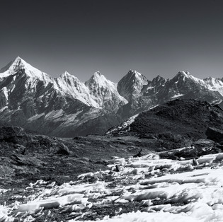 The view of Panchahuli peaks from Khaliya Top, Munsiyari, Uttarakhand.