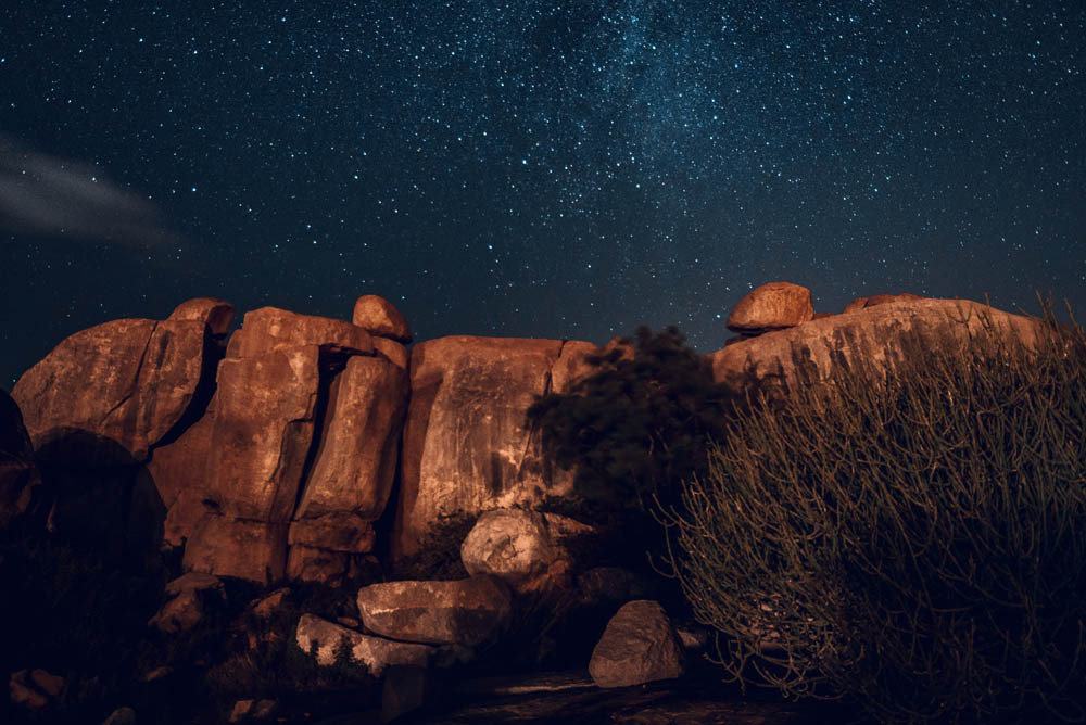 Stars over the Hippie Island in Hampi.
