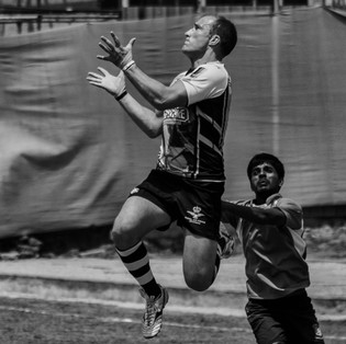 The British RAF Spitfire Rugby team in action.