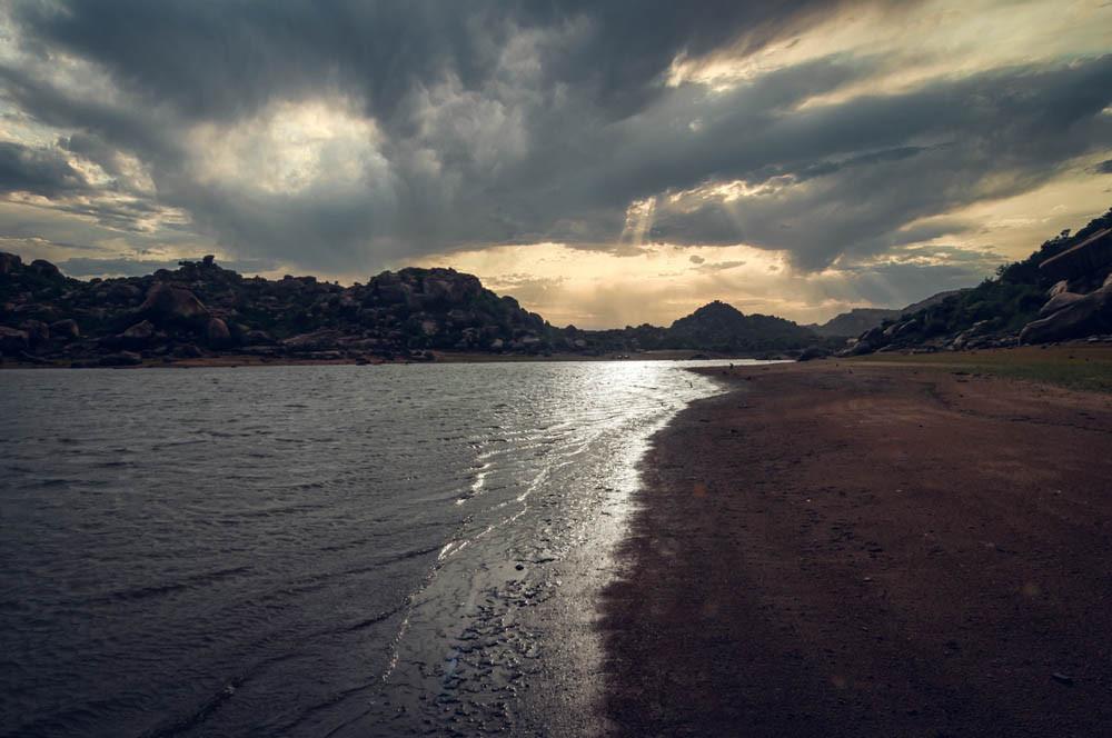 The secret lake of Hippie Island Hampi.