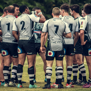 Team meeting. The British Royal Airforce Spitfire Rugby team.