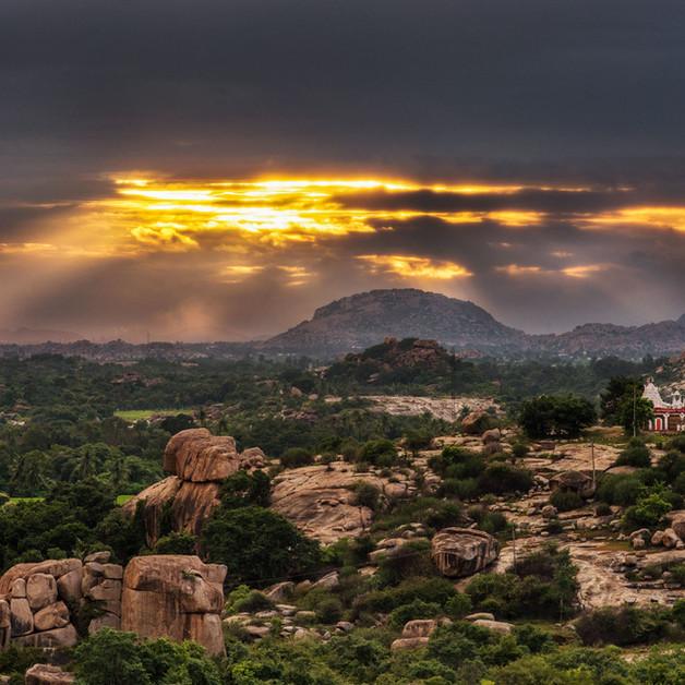 A surreal sunset over the rocks at Hampi, Karnataka.