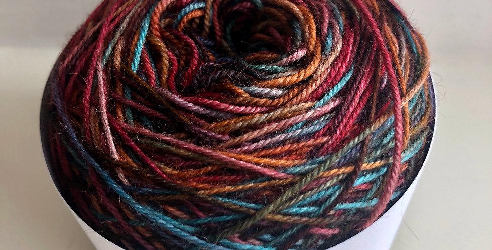 Hand Dyed 4 ply Superwash Merino/Yak/Nylon: Toot sweet