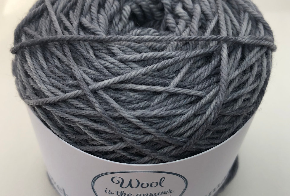Hand Dyed DK Superwash Merino Grey