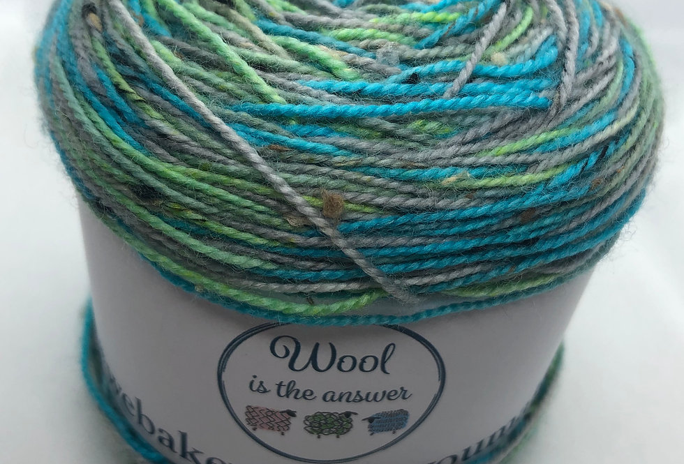 Hand Dyed 4 ply Superwash Merino and Donegal Nep Seafoam