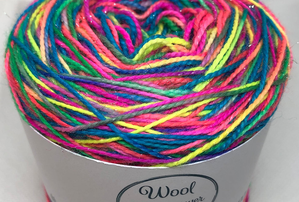 Hand Dyed 4 ply Superwash Merino (sparkle) Party Popper