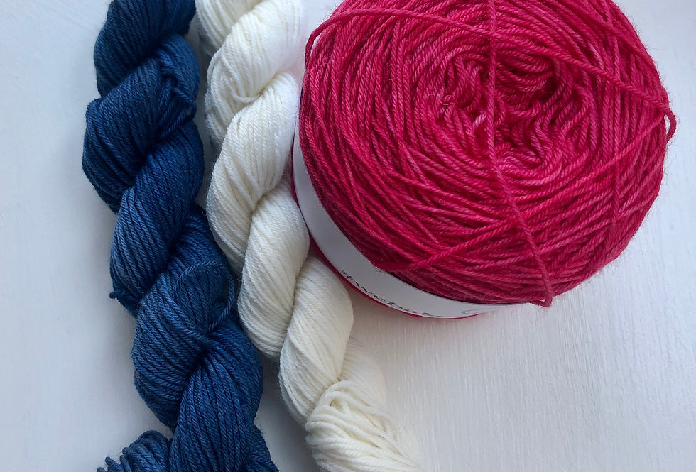 4 ply Red, White and Blue Sock Set