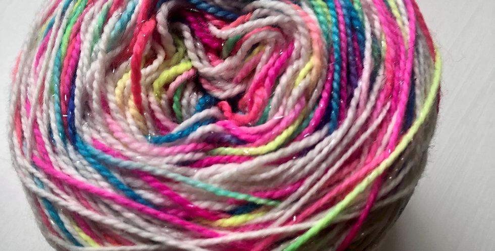 Hand Dyed 4 ply Superwash Merino (sparkle) Puffin Rainbow
