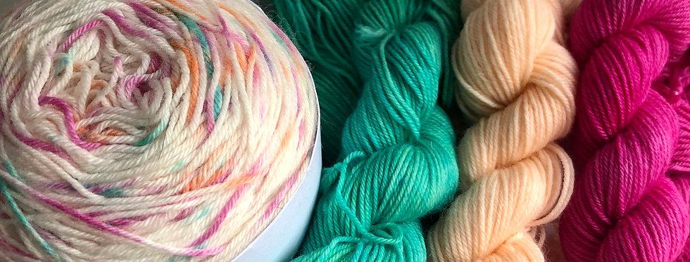 Ridge and Furrow Knitted Shawl Set