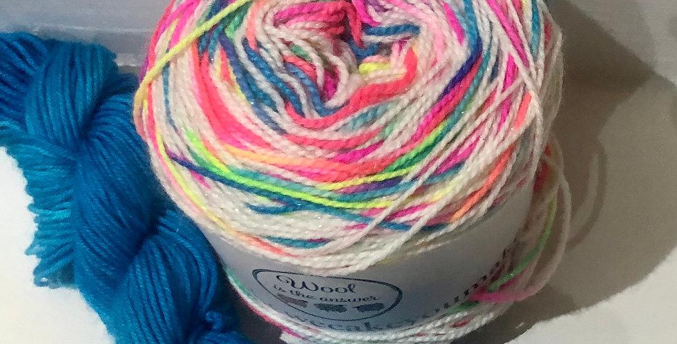 4 ply Sparkle Puffin Rainbow Sock Set