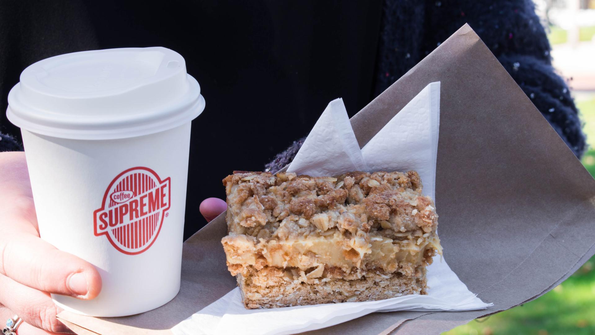 Coffee and an Oaty caramel slice