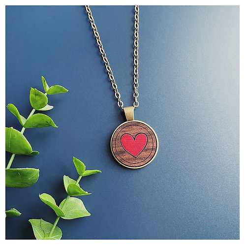 Heart Inlay Pendant Necklace