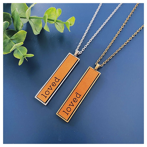 Loved Engraved Leather Necklace