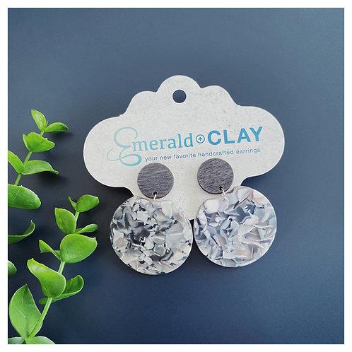 Wood Post + Gray Marble Acrylic Circle