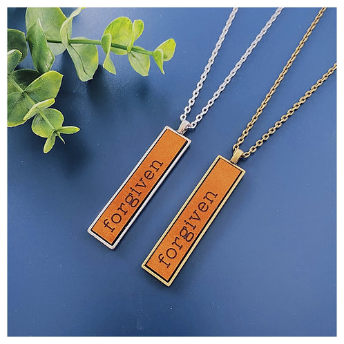 Forgiven Engraved Leather Necklace