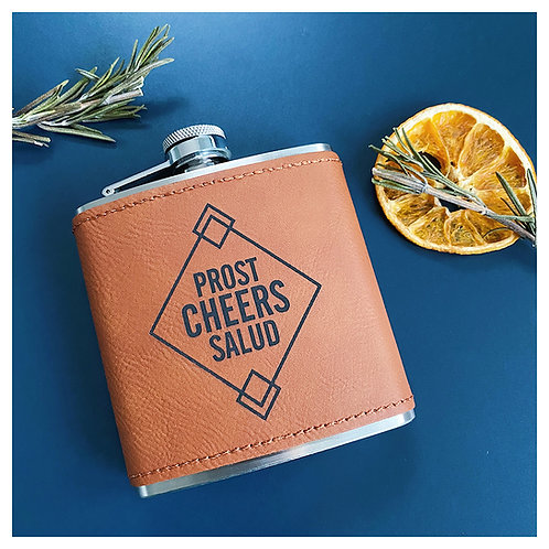 Cheers Engraved Flask