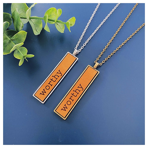 Worthy Engraved Leather Necklace