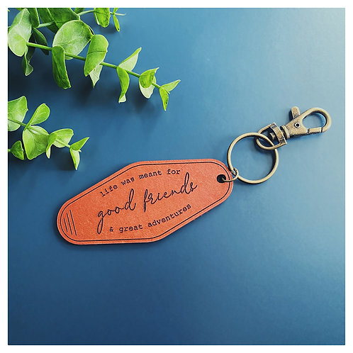 Good Friends Leather Hotel Keychain