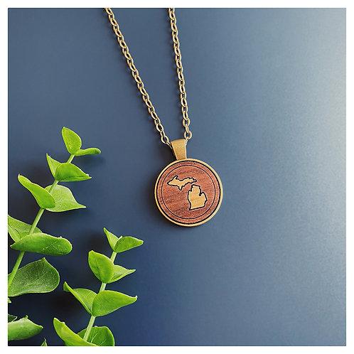 Michigan Inlay Pendant Necklace