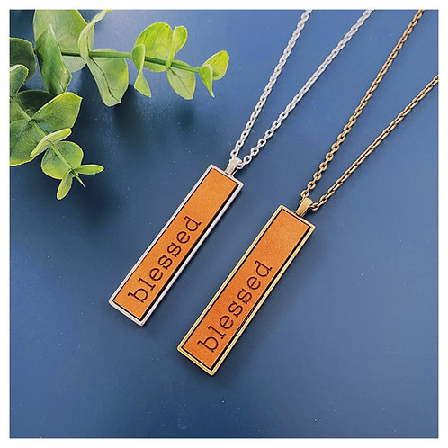 Blessed Engraved Leather Necklace