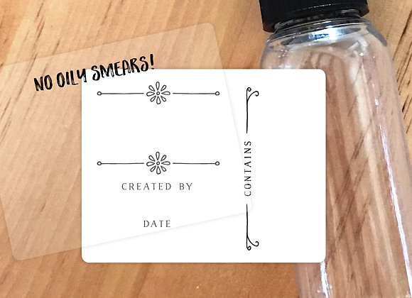 "30ct Medium Daisy Labels [Waterproof White+Clear Overlays, 2 1/8"" x 1 11/16""]"