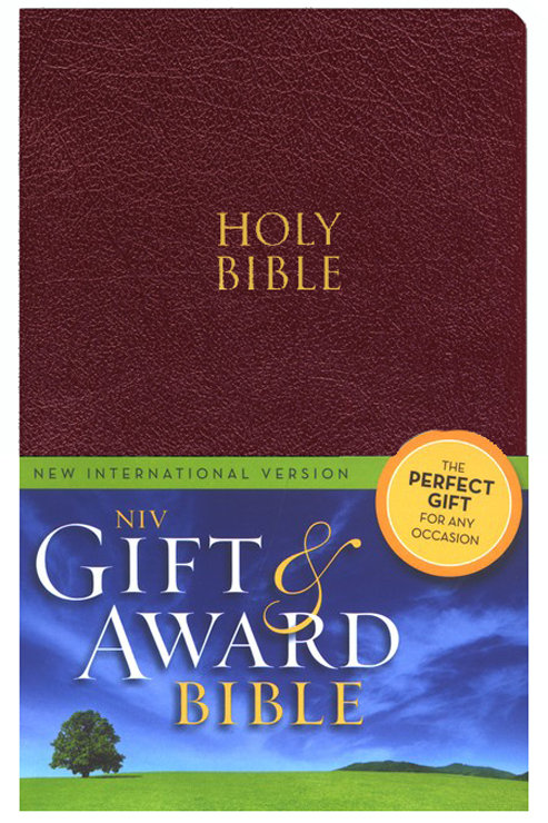 NIV Gift & Award Bible, Burgundy,Leather-Look