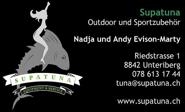 Supatuna - unsere Visitenkarte mit der Adresse und Telefonnummer