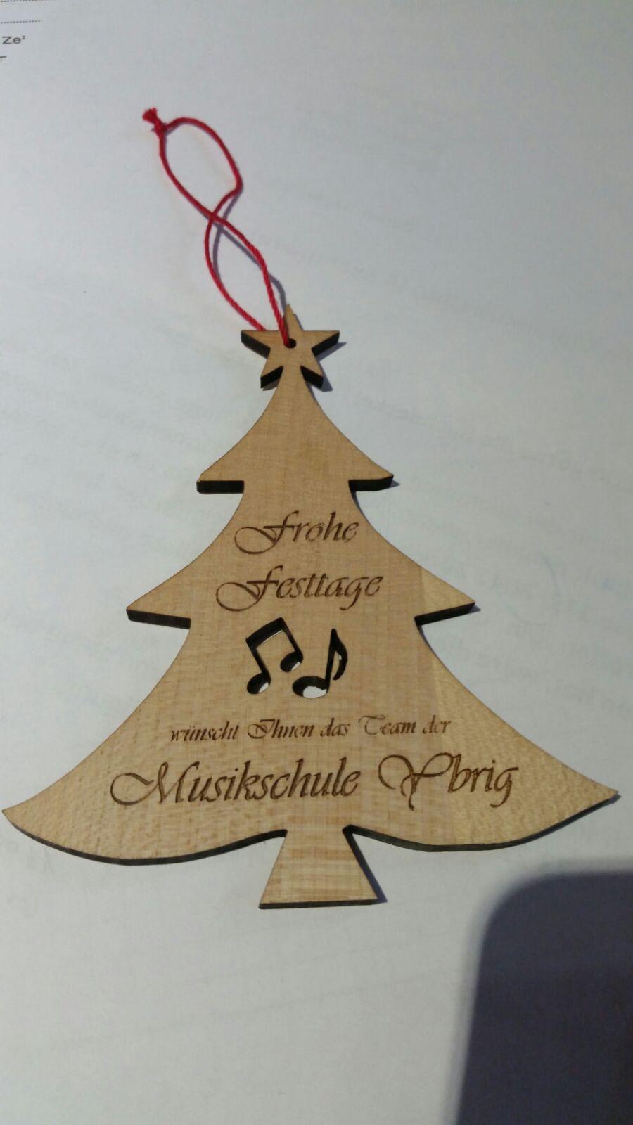 Kundengeschenk zu Weihnachten der Musikschule Ybrig. Office Helpers berät sie gerne.